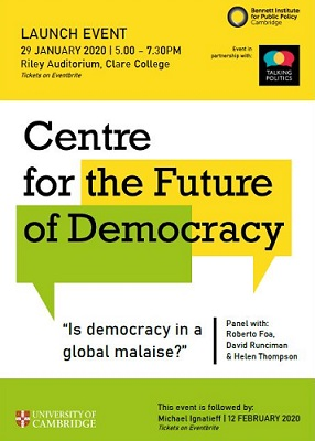 Flier promoting launch of Centre for the Future of Democracy