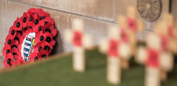 wreath and poppies on crosses for Remembrance day