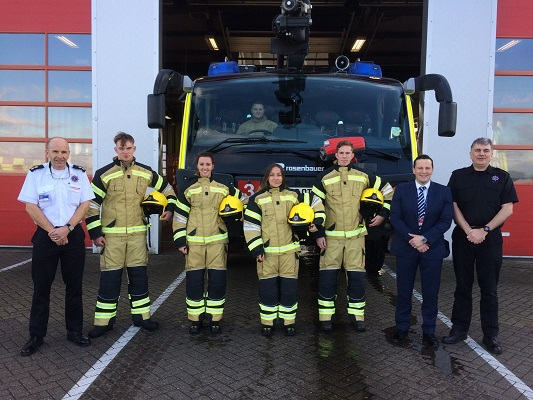 Firefighter apprentices at Stansted include two women