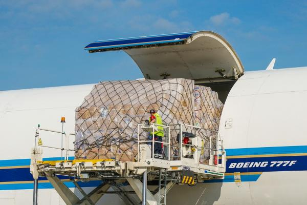 Cargo being loaded onto a plane at Stansted