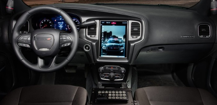 interior of a Dodge Charger police car