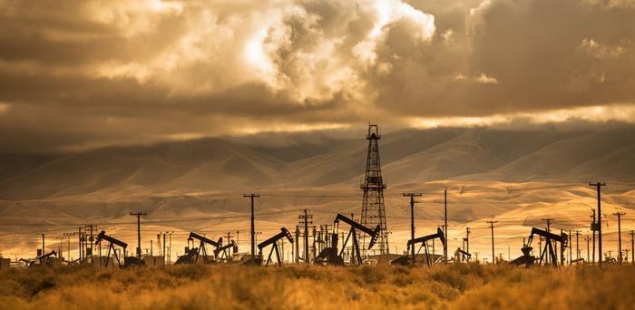 a field of oil rigs