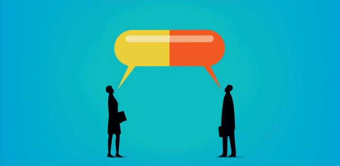 Illustration - two people share giat pill- shaped speech bubble