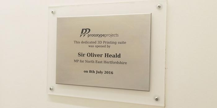 Plaque to mark opening of Prototype Projects.