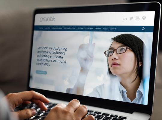Grant Instruments'new website design - screenshot