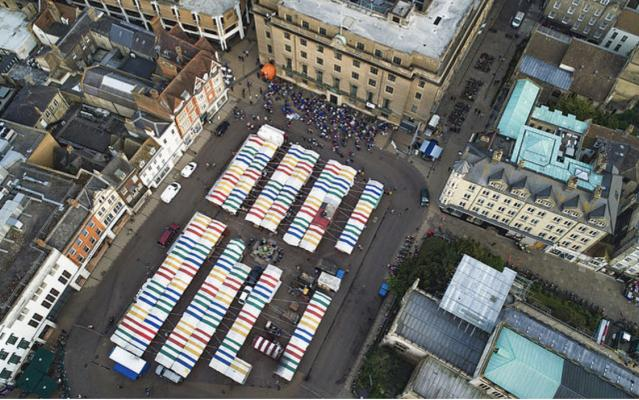 aerial photograh of Cambridge market taken by a drone