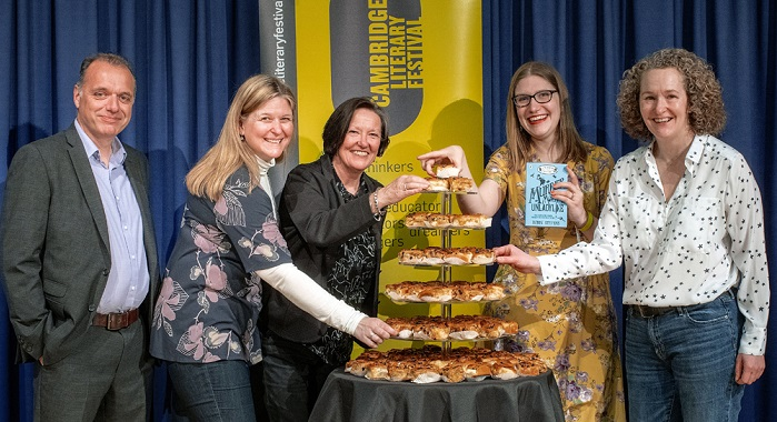 Founder Cathy Moore (3rd left) and Cambridge Literary Festival team