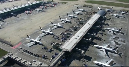 Drone image of London Stansted during COVID-19 outbreak