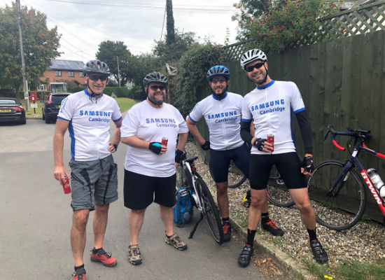The Samsung Cambridge Solutions team at Savills Gran Fondo cycle ride raising funds for Arthur Rank Hospice Charity