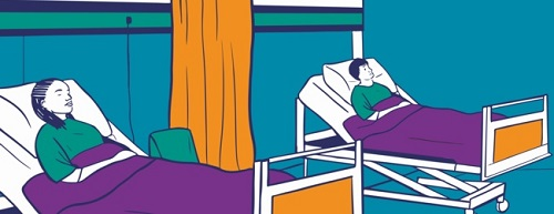 Illustration of two people in hospital beds