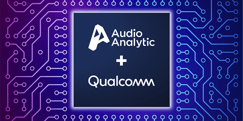 Audio Analytic and Qualcomm logos on PCB background