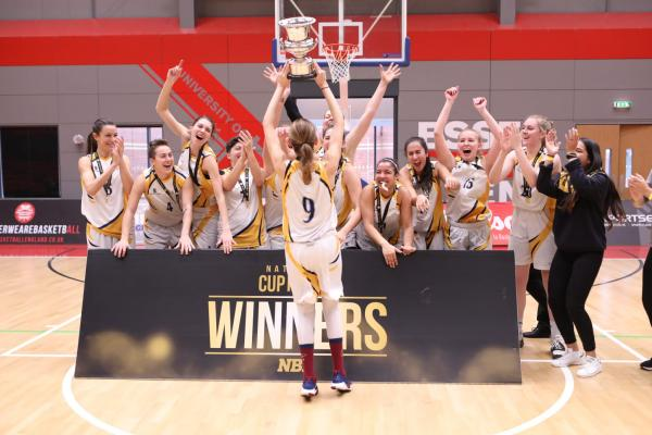 ARU Women lift the National Cup - credit Basketball England
