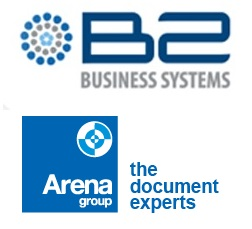 B2 Business Systems Ltd logo and Arena Group Holdings Ltd logo