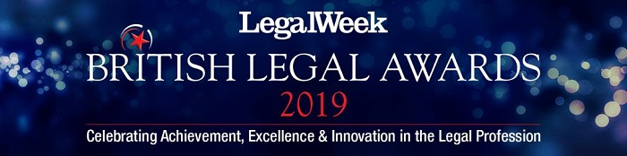 British Legal Awards 2019 logo/ banner