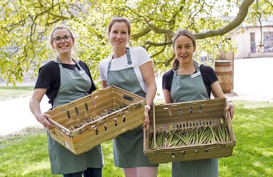 The team at Burwash larder with asparagus crop