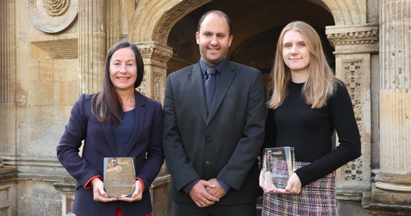 Cambridge BID awards for Caius Conference Team - left to right: Eve Stupart, Conference & Events Manager;  Simon Gascoyne , Deputy Conference & Events Manager; and Laura Webb, Conference & Events Coordinator.