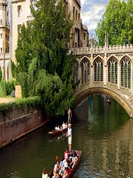 Punting on the River Cam near the Bridge of Sighs