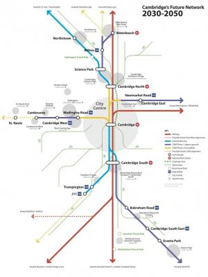Map of Cambridge's proposed future transport network 2030-50