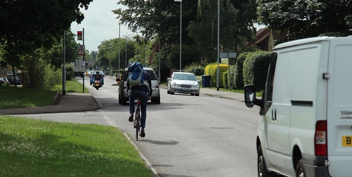 Cambridge road showing cyclist and traffic