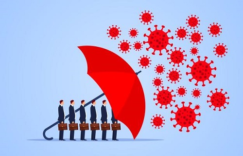 illustration showing a line up of business men behind an umbrella, shielding them from coronavirus symbols