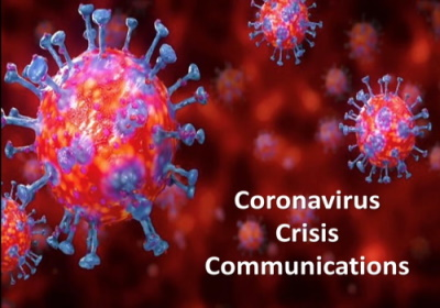 An image of a virus under a microscope, with the text Coronavirus Crisis Communications inserted to the right