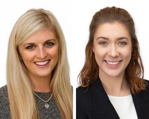 Associate Danielle Francombe (left), interviews Emily Ball on her legal apprenticeship