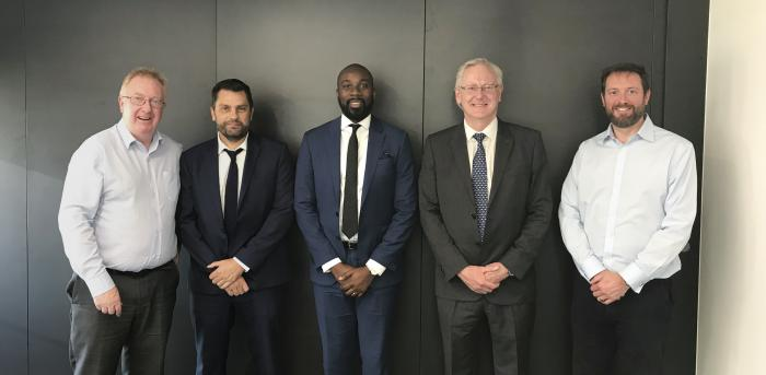 (Left to right) RSK CEO Alan Ryder, ATP Director Keith Warwick, PEMCF Director Philip Olagunju, ATP Director Daren Flight, and RSK Divisional Director George Tuckell