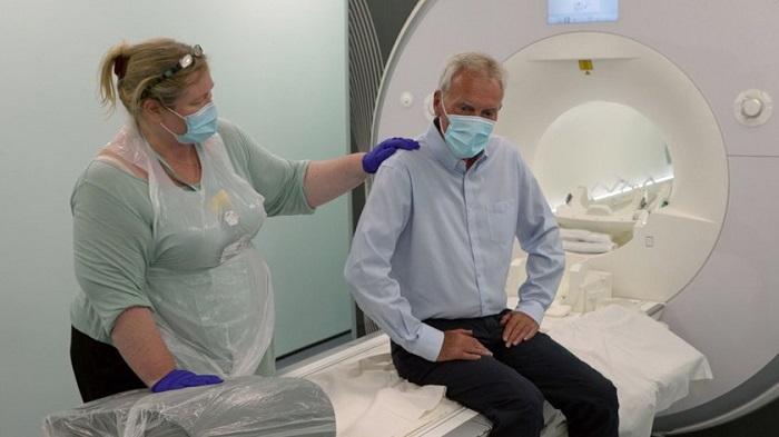 Dennis Clark, about to under go a brain scan