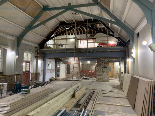 Inside Downing Place URC while under construction