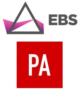 EBS New Media logo and The Press Association logo