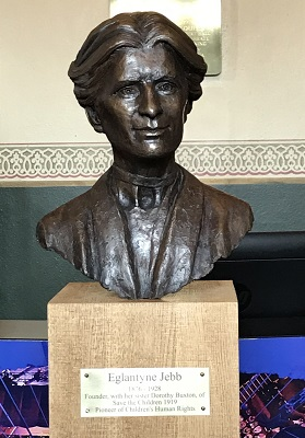 A bronze bust of Save the Children founder Eglantyne Jebb produced by Anglia Ruskin University Fine Art graduate Ian Wolter
