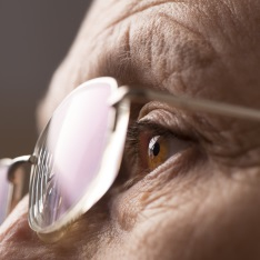 Close up of eyes behind spectacles