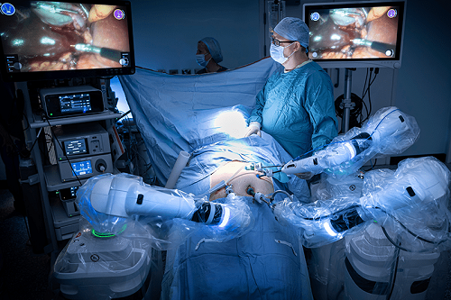 Robotic surgery operating room_Versius in use at Gloucestershire Hospitals NHS Foundation Trust