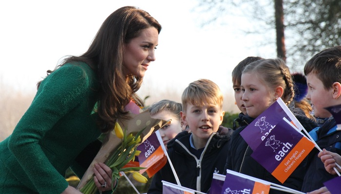 Image icon HRH The Duchess of Cambridge meeting schoolchildren on a previous visit to an EACH hospice