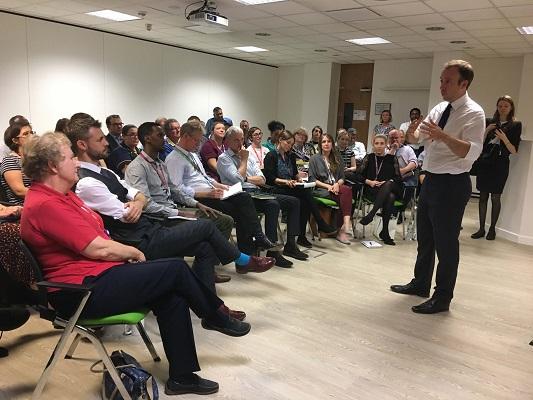 Health Secretary Matt Hancock visits Cambridge University Hospitals