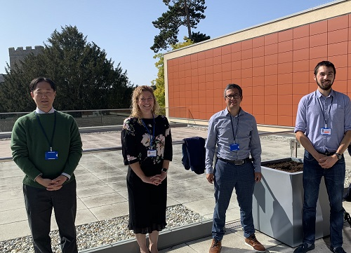 The third Accelerate@Babraham cohort (left to right): Eugene Park, Co-founder, Stroma Biosciences, Tamsin Holland-Brown, Cambridge Paediatric HealthTech, Jon Cuccui, Scientific Founder, ArcVax and Matthew Griffiths, CTO, ConcR