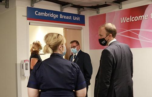 Health Secretary Matt Hancock visiting Addenbrooke's Hospital with Chief Nurse Lorraine Szeremeta