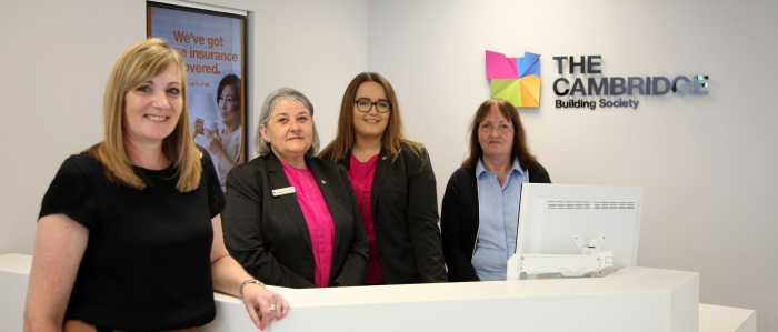 The Cambridge Building Society team in their Great Shelford branch
