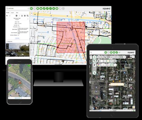 Image of IQGeo geospatical software interface