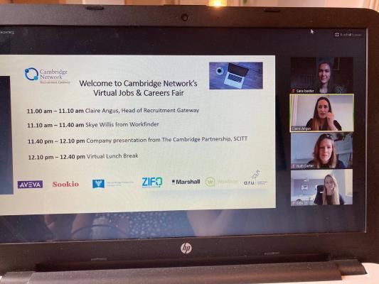 Screen shot of Cambridge Network Virtual Jobs Fair November 2020