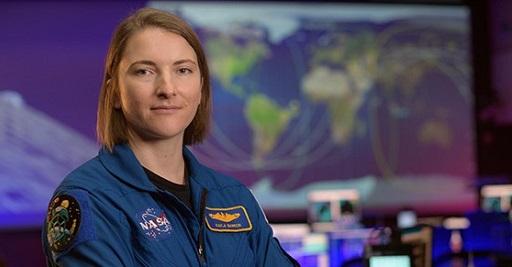 NASA astronaut Kayla Barron in the Blue Flight Control Room at NASA's Johnson Space Center in Houston.  Credit: NASA/Bill Ingalls