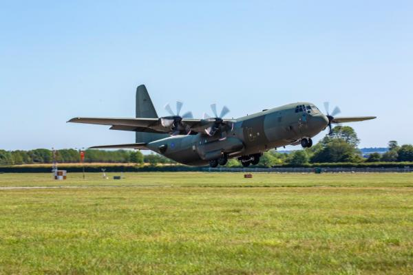 RAF C-130J leaves Marshall ADG after completion of centre wing replacement.