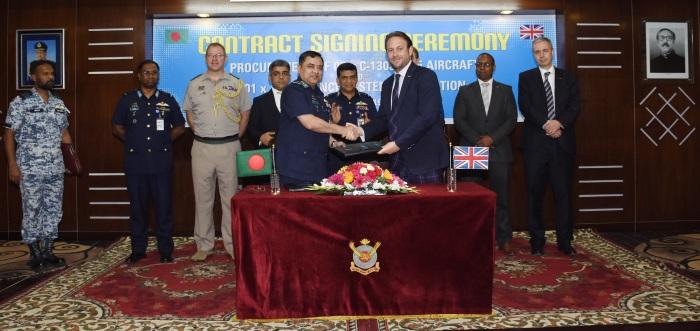 Marshall ADG and Bangladesh Air Force staff shake hands