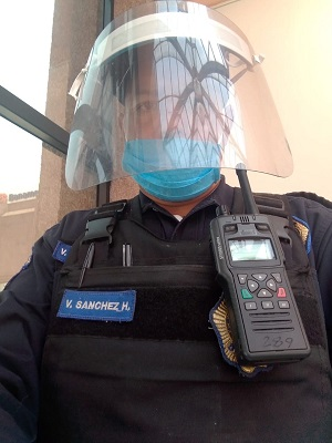 Mexico Police Officer in Face Shield with STP9000