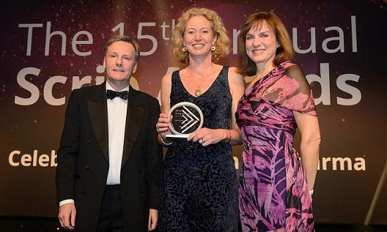 Dr. Jane Osbourn, OBE (centre) receives Scrip's Lifetime Achievement Award