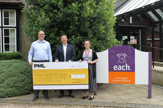 from left, PML Managing Director Paul Leivers, PML Director Matt Winney and EACH Cambridgeshire Assistant Corporate Fundraiser Emily Rose.