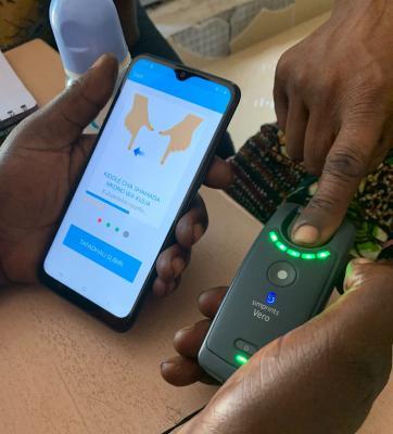 biometric sensor module in use