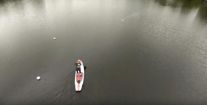 A shot of paddleboarding