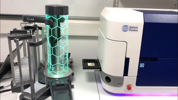 Cyto-Mine® Single Cell Analysis System (right) integrated with S-LAB™ automated plate handler (left)