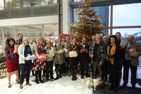 Volunteers from the Friends of Fulbourn Hospital and the Community group picked up the gifts from the Council's offices in Cambourne.